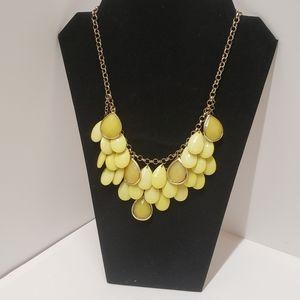 Unique Yellow Acrylic Dangle Necklace
